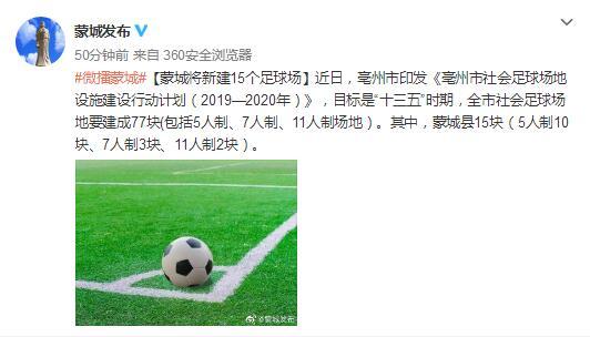 大力发展足球运动?亳州全市将新建77个足球场