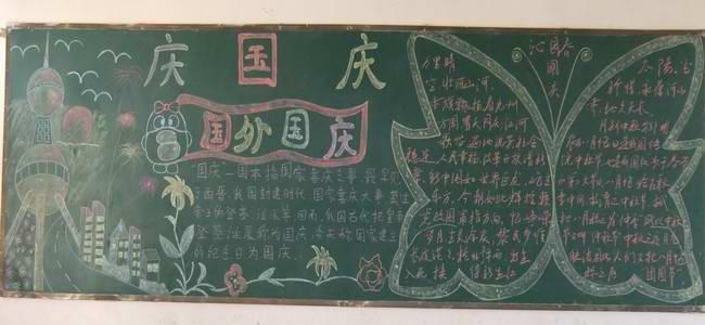 """为庆祝中华人民共和国成立63周年,进一步培养学生爱国主义情怀,近日,定远县东兴学校团委积极开展以""""歌颂祖国、爱我中华""""为主题的板报评比活动。 学校团委要求板报内容突出爱国精神,主题鲜明、内容丰富、题材新颖、设计美观、图文并茂、和谐统一。各班同学在班主任的指导下,纷纷从图书、报纸、网络等找来资料,认真推敲、精心设计。一块块精彩的板报,既扮靓了校园,又展示了学生的才华,更体现了学生的一片爱国赤诚之心。 经过激烈的角逐,最后评选出一、二、三等奖各一名。 此次活动,同学们用自己的智慧,表达"""